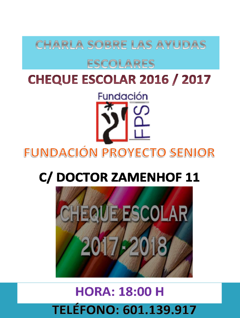CARTEL CHARLA CHEQUE ESCOLAR